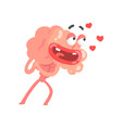 humanized cartoon brain character in love vector image