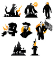 icons set of monsters and humans isolated vector image