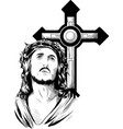 jesus christ face art design vector image