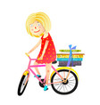 little girl books and bicycle kids cartoon vector image vector image