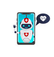 medical chatbot inside smartphone vector image vector image