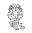 mermaid with a wreath of starfish holding her vector image vector image