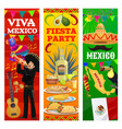 mexican fiesta banners mexico flag map and food vector image