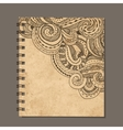 Notebook design zenart ornament Old grunge paper vector image vector image