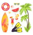palm tree surfing board set vector image vector image