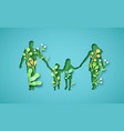 paper cut family holding hands with green nature vector image vector image