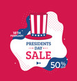 presidents day sale poster design with red hat vector image
