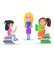 pretty girls sitting and standing with textbooks vector image vector image
