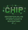 printed circuit board font computer technologies vector image vector image