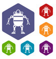 robot icons set hexagon vector image vector image