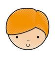 scribble cute little boy face vector image