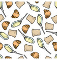 seamless pattern with colorful bread vector image vector image