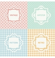 Set of mono line seamless pattern with circle vector image vector image