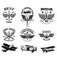 set of vintage airplane show emblems design vector image vector image