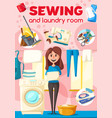 sewing and laundry poster for dry cleaners service vector image