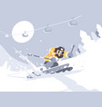skier skiing in ski resort vector image vector image