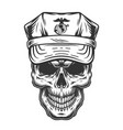 skull in cap military officer vector image vector image