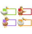 Square tags with ducks vector image vector image