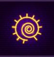 sun swirl neon sign vector image