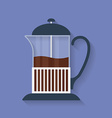 Teapot French press with tea or coffee flat icon vector image