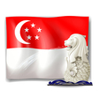 The statue of Merlion and the flag of Singapore vector image