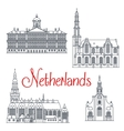Thin line travel icons of Netherlands vector image