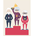 Three senior people on a winners podium vector image vector image
