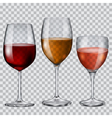 Transparent glass goblets with wine vector image vector image