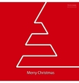 christmas card design with white line tree vector image