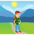 Young man tourist with a backpack standing on a vector image