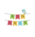 Big sale text on a garland of flags vector image