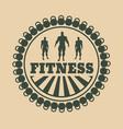 muscular man posing bodybuilding coat of arms vector image