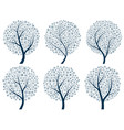 abstract silhouettes of trees with snowflakes vector image vector image