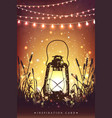 amazing vintage lanten on grass with magical vector image vector image