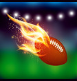 american football ball with fire vector image