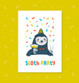 animal party lazy sloth party cute sloth with vector image vector image