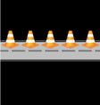 Background with traffic cones on road vector image vector image