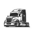 big rig truck black and white vector image vector image