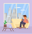 boy with smartphone on sofa vector image vector image