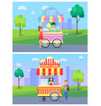candy cotton and popcorn vector image vector image