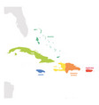 caribbean region colorful map of countries in vector image
