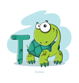 Cartoons Alphabet - Letter T with funny Tortoise vector image