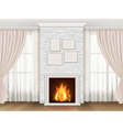 Classic interior with fireplace and windows vector image