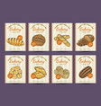 collection of posters with various bakery products vector image vector image