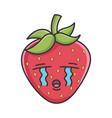 crying sad strawberry fruit icon cartoon vector image vector image