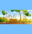dirty city park with garbage bench and green tree vector image