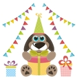Dog with gifts and garlands vector image vector image