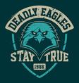 eagle mascot grunge emblem template vector image