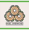 food logotype with three bagel sandwiches vector image vector image