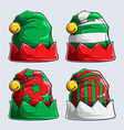four christmas holiday hats red and green hats vector image
